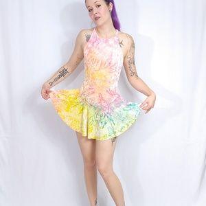 UNIF Rink Crushed Velvet Skater Tie Dye Dress XS